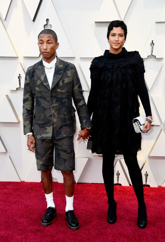 HOLLYWOOD, CALIFORNIA - FEBRUARY 24: (L-R) Pharrell Williams and  Helen Lasichanh attends the 91st Annual Academy Awards at Hollywood and Highland on February 24, 2019 in Hollywood, California. (Photo by Frazer Harrison/Getty Images)