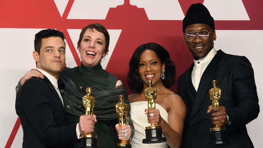 """HOLLYWOOD, CALIFORNIA - FEBRUARY 24: (L-R) Rami Malek, winner of Best Actor for """"Bohemian Rhapsody""""; Olivia Colman, winner of Best Actress for """"The Favourite""""; Regina King, winner of Best Supporting Actress for """"If Beale Street Could Talk""""; and Mahershala Ali, winner of Best Supporting Actor for """"Green Book"""" pose in the press room during the 91st Annual Academy Awards at Hollywood and Highland on February 24, 2019 in Hollywood, California. (Photo by Frazer Harrison/Getty Images)"""