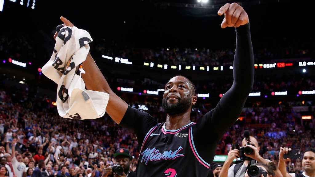 MIAMI, FLORIDA - FEBRUARY 27:  Dwyane Wade #3 of the Miami Heat celebrates after hitting a game-winning three pointer against the Golden State Warriors at American Airlines Arena on February 27, 2019 in Miami, Florida. NOTE TO USER: User expressly acknowledges and agrees that, by downloading and or using this photograph, User is consenting to the terms and conditions of the Getty Images License Agreement. (Photo by Michael Reaves/Getty Images)