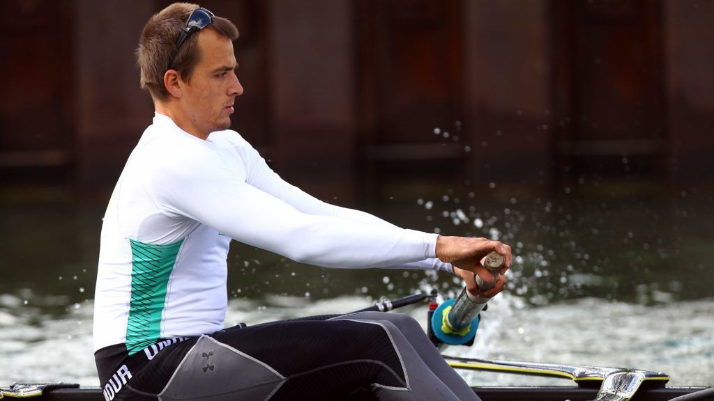 DORTMUND, GERMANY - APRIL 19: Maximilian Reinelot rows during the German National Rowing Team photocall on the Dortmund Ems canal on April 19, 2012 in Dortmund, Germany. (Photo by Christof Koepsel/Bongarts/Getty Images)