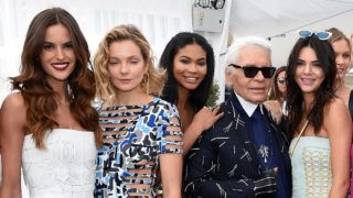 """CANNES, FRANCE - MAY 21:  Guests, Izabel Goulart, Eniko Mihalik, Chanel Iman, Karl Lagerfeld, Guest and Lily Donaldson attend the launch of the new """"Fendi By Karl Lagerfeld"""" Book  during the 68th annual Cannes Film Festival on May 21, 2015 in Cannes, France.  (Photo by Venturelli/Getty Images)"""