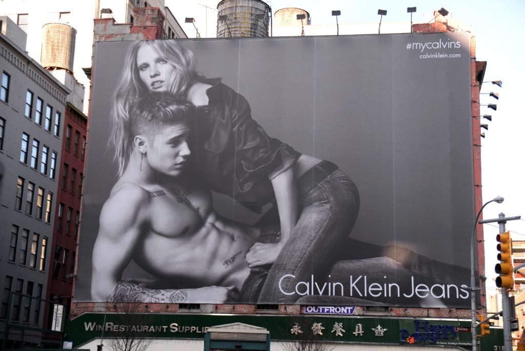 NEW YORK, NY - JAN 17: General view of a Justin Bieber for Calvin Klein Billboard located on Houston Street on January 17, 2015 in New York City. (Photo by Tomas/IMAGES/Getty Images)