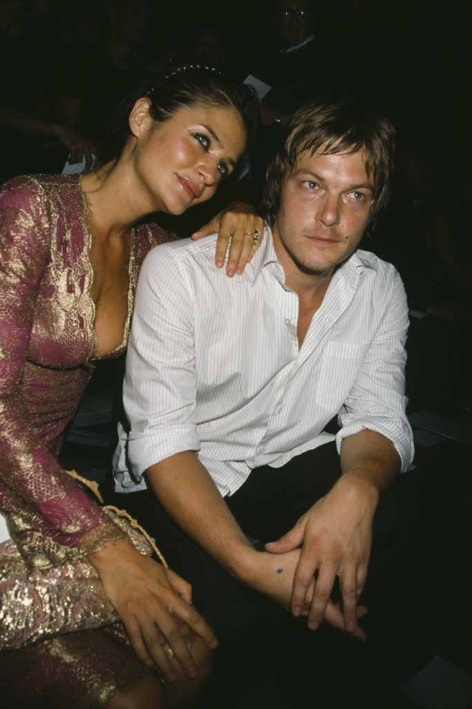 Danish fashion model and photographer, Helena Christensen and American model and actor, Norman Reedus attending the Marc Jacobs Spring 2003 fashion show, New York City, circa 2002. (Photo by Rose Hartman/Archive Photos/Getty Images)