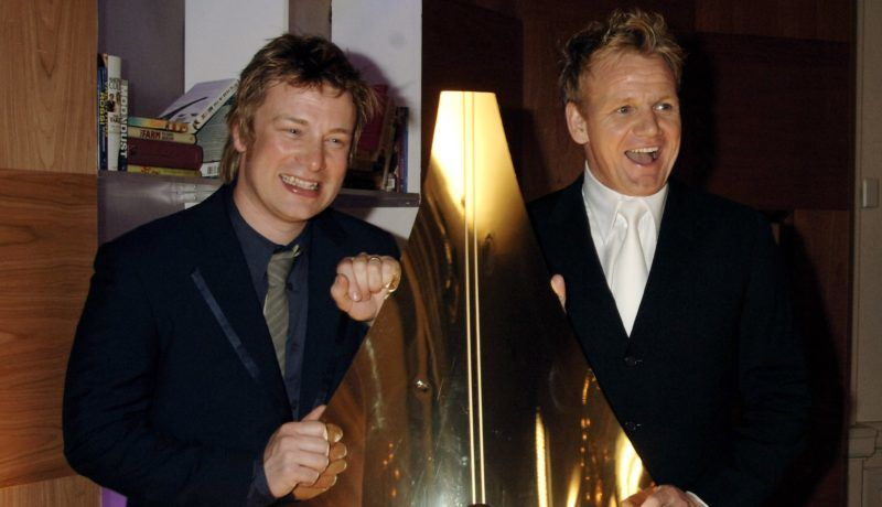 LONDON - MARCH 29:  (EMBARGOED FOR PUBLICATION IN UK TABLOID NEWSPAPERS UNTIL 48 HOURS AFTER CREATE DATE AND TIME)  (L-R) Chefs Jamie Oliver and Gordon Ramsay attend the British Book Awards at Grosvenor House on March 29, 2006 in London, England. The literary awards, known as the Nibbies, recognise bestsellers rather than critics' favourites, with nominated authors including Jeremy Clarkson, Piers Morgan, Jamie Oliver, J K Rowling and Sharon Osbourne.  (Photo by Dave M. Benett/Getty Images)