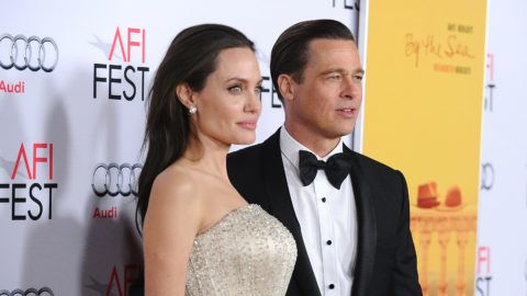 """HOLLYWOOD, CA - NOVEMBER 05:  Angelina Jolie and Brad Pitt attend the premiere of """"By the Sea"""" at the 2015 AFI Fest at TCL Chinese 6 Theatres on November 5, 2015 in Hollywood, California.  (Photo by Jason LaVeris/FilmMagic)"""