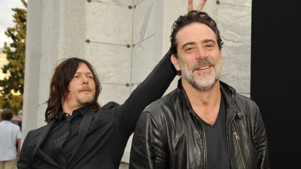 "HOLLYWOOD, CA - OCTOBER 23:  Actors Norman Reedus and Jeffrey Dean Morgan attend AMC presents ""Talking Dead Live"" for the premiere of ""The Walking Dead"" at Hollywood Forever on October 23, 2016 in Hollywood, California.  (Photo by John Sciulli/Getty Images for AMC)"