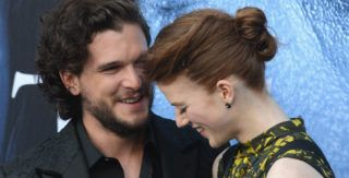 """LOS ANGELES, CA - JULY 12:  Actor Kit Harington and actress Rose Leslie arrive for the Premiere Of HBO's """"Game Of Thrones"""" Season 7  held at Walt Disney Concert Hall on July 12, 2017 in Los Angeles, California.  (Photo by Albert L. Ortega/Getty Images)"""