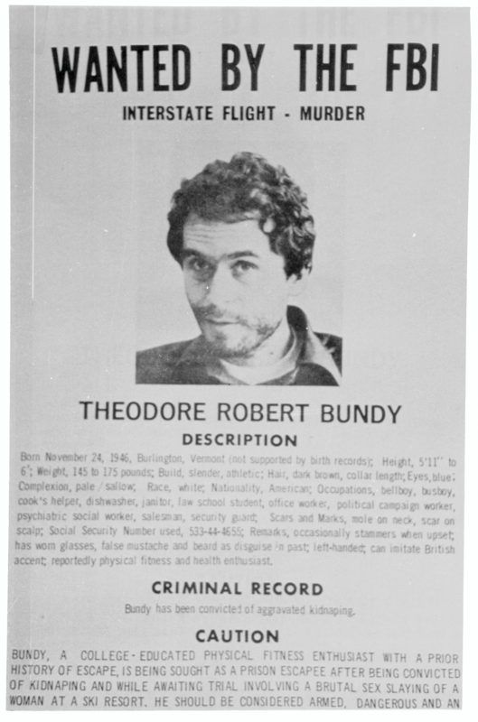 Wanted Sign of Ted Bundy. (Photo by Bettmann/Corbis/Getty Images)