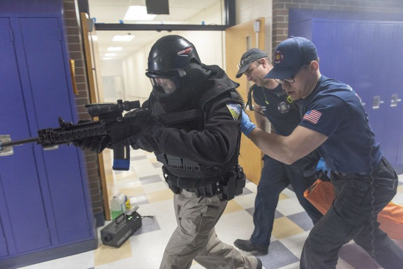 LIVINGSTON, MT - APRIL 27: An active shooter drill is performed by the Livingston Police Department, the Park County Sheriff's Office, and Livingston Fire Department EMS at Park High School on April 27, 2018 in Livingston, Montana. (Photo by William Campbell/Corbis via Getty Images)