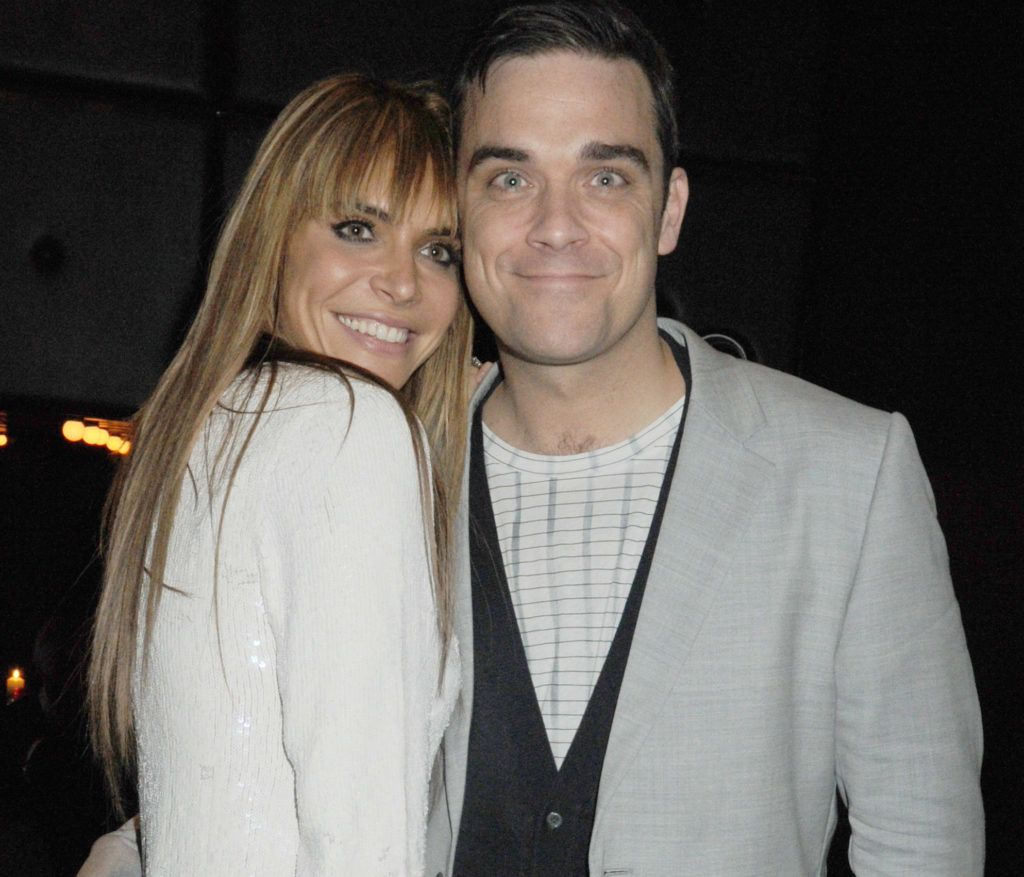 LONDON, ENGLAND - FEBRUARY 16:  (EMBARGOED FOR PUBLICATION IN UK TABLOID NEWSPAPERS UNTIL 48 HOURS AFTER CREATE DATE AND TIME. MANDATORY CREDIT PHOTO BY DAVE M. BENETT/GETTY IMAGES REQUIRED)  Ayda Field and Robbie Williams attend the Brit Awards after party held by EMI at the Supper Club on February 16, 2010 in London, England.  (Photo by Dave M. Benett/Getty Images)