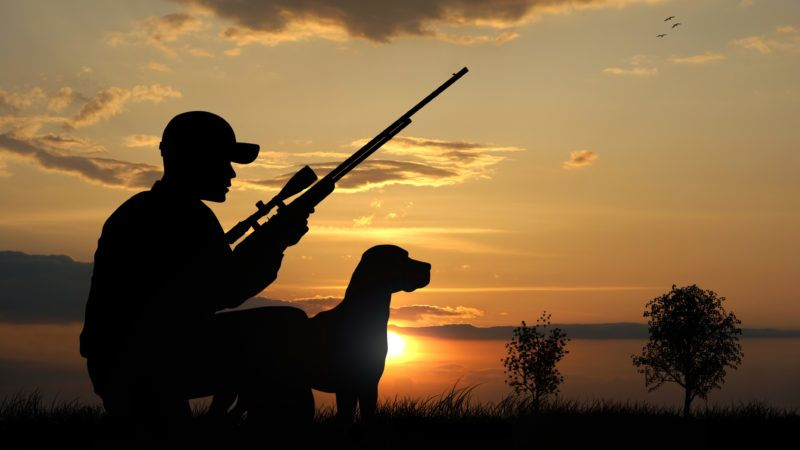 Hunter with his dog silhouettes on sunset background