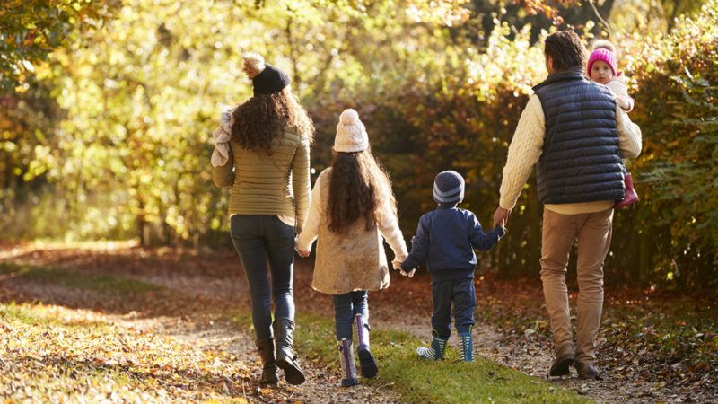 Rear View Of Family Enjoying Autumn Walk In Countryside