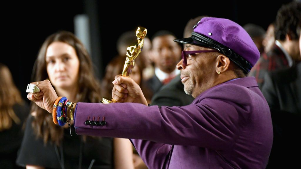 BEVERLY HILLS, CA - FEBRUARY 24:  Spike Lee poses with the Academy Award for Best Adapted Screenplay during the 2019 Vanity Fair Oscar Party hosted by Radhika Jones at Wallis Annenberg Center for the Performing Arts on February 24, 2019 in Beverly Hills, California.  (Photo by Mike Coppola/VF19/Getty Images for VF)