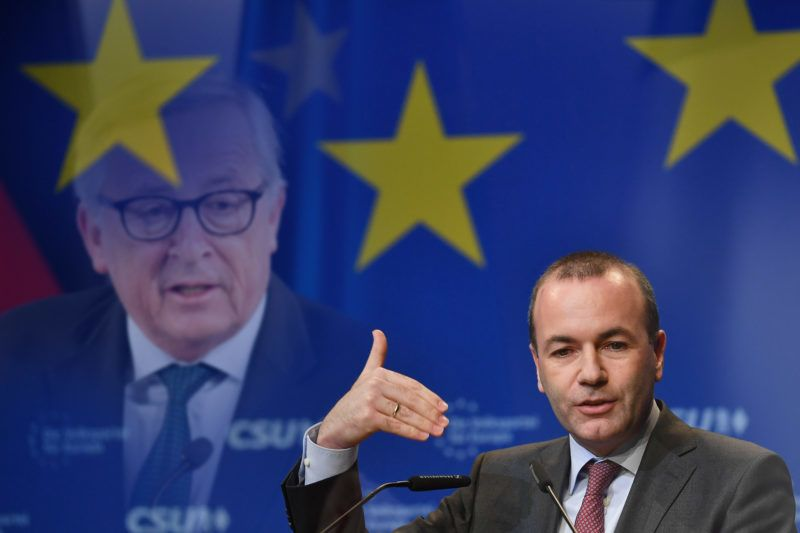 FOTOMONTAGE: EPP Group leader Manfred Weber will take part in the European elections of 23.25.05.2019 as a leading candidate of the conservative European People's Party (EPP). The Vice-CSU leader is herewith the first candidate for the succession of European Commission chief executive Jean-Claude Juncker, who will not stand for a further term of office in the May election. Archive photo: Manfred WEBER (Chairman of the EPP) in his speech, single image, cut single motif, half figure, half figure.gesture, delegates' meeting for the preparation of the CSU list for the European elections on 24.11.2018 in Munich, Â | usage worldwide