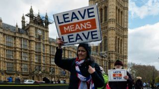 Pro-Brexit supporters protest outside the Houses of Parliament in London as they campaign for a no deal Brexit on 13 March, 2019. Today MPs debate and vote on the possibility of a no-deal Brexit following last night's second defeat of Prime Minister Theresa May's EU Withdrawal deal by 149 votes. (Photo by WIktor Szymanowicz/NurPhoto)