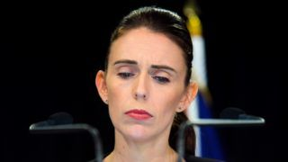 """New Zealand Prime Minister Jacinda Ardern attends a media during a Post Cabinet media press conference at Parliament in Wellington on March 18, 2019. - New Zealand's cabinet agreed measures to tighten gun control laws """"in principle"""" Monday, just days after a deadly mass shooting killed more than 50 people. Ardern said details of the measures would be rolled out before a cabinet meeting next Monday, saying """"the time to act is now"""". (Photo by David Lintott / AFP)"""