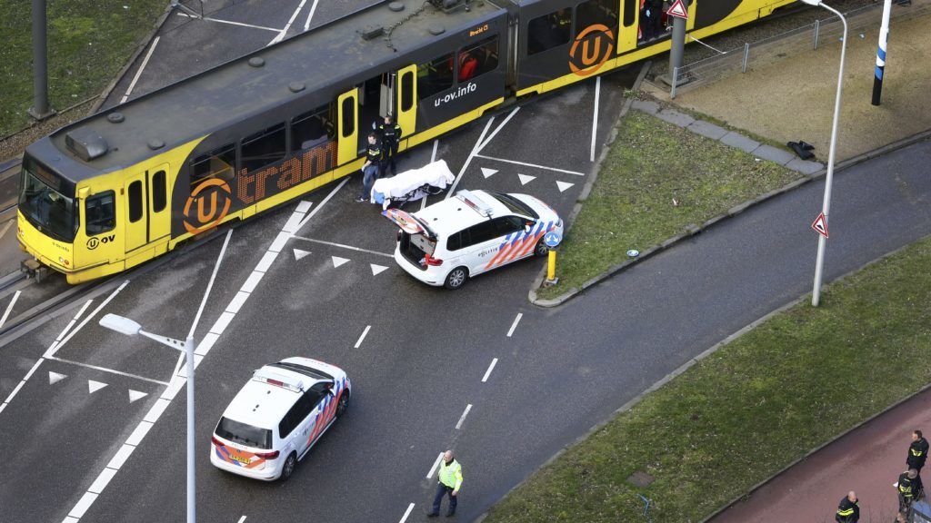 Special Police forces inspect a tram at the 24 Oktoberplace in Utrecht, on March 18, 2019 where a shooting took place. - A gunman opened fire on a tram in the Dutch city of Utrecht on March 18, 2019, killing at least one person and wounding several in what officials said was a possible terrorist incident. (Photo by Ricardo Smit / ANP / AFP) / Netherlands OUT