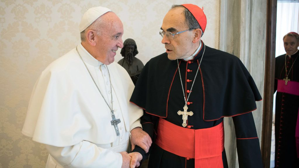 """This handout photo taken and released on March 18, 2019 by the Vatican press office, the Vatican Media, shows Pope Francis shaking hands with France's Cardinal Philippe Barbarin (R), during their meeting at the Vatican on March 18, 2019. - Pope Francis met with Cardinal Philippe Barbarin, France's highest-ranking Catholic official, who was expected to tender his resignation after receiving a six-month suspended jail sentence for failing to report sex abuse by a priest under his authority. (Photo by HO / VATICAN MEDIA / AFP) / RESTRICTED TO EDITORIAL USE - MANDATORY CREDIT """"AFP PHOTO / VATICAN MEDIA"""" - NO MARKETING NO ADVERTISING CAMPAIGNS - DISTRIBUTED AS A SERVICE TO CLIENTS"""