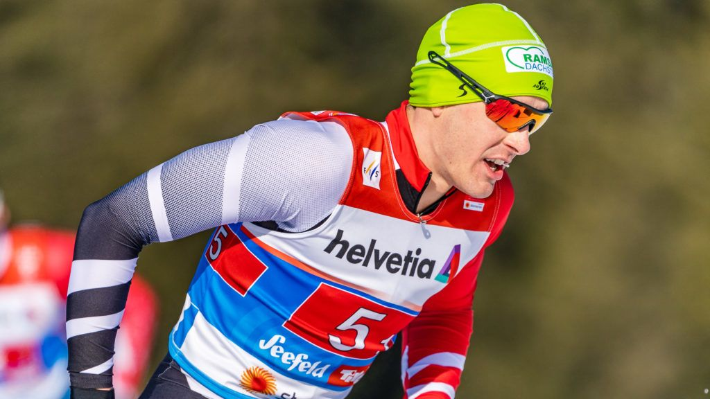 """Max Hauke of Austria during the men's cross country team competition of FIS Nordic Ski World Championships 2019 at the Langlauf Arena in Seefeld, Austria on 2019/02/24. (Photo credit should read """"Stefan Adelsberger/APA-PictureDesk via AFP"""")"""