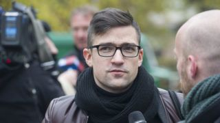 """Martin Sellner, leader of the right-wing populist Identitarian movement of Austria is seen giving an interview in Berlin, Germany, 05 November 2016. He is a participant in the a so-called """"conference"""" of the new-right magzine, Compact, held under the title """"Offensive fuer Meinungsfreiheit"""" (lt. Offensive for Freedom of Speech) Photo: PAUL ZINKEN/dpa"""
