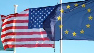 The flags of the United States of America and the European Union are hoisted next to each other in Nice, France, 4 March 2017. - NO WIRE SERVICE - Photo: Jens Kalaene/dpa-Zentralbild/ZB