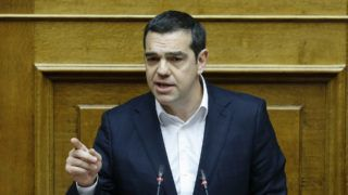 ATHENS, GREECE - FEBRUARY 08: Greek Prime Minister Alexis Tsipras makes a speech ahead of the general assembly's convene to vote on Macedonia's NATO membership protocol at the Greek Parliament in Athens, Greece on February 08, 2019. Ayhan Mehmet / Anadolu Agency