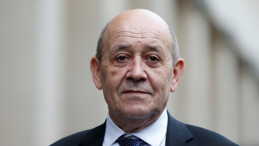 BERLIN, GERMANY - MARCH 27:  French Foreign Affairs Minister Jean-Yves Le Drian is seen during joint press conference with German Foreign Minister Heiko Maas (not seen) after their meeting in Berlin, Germany on March 27, 2019. Abdulhamid Hosbas / Anadolu Agency