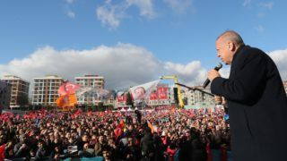 """ISTANBUL, TURKEY - MARCH 30: (----EDITORIAL USE ONLY – MANDATORY CREDIT - """"TURKISH PRESIDENCY / CEM OKSUZ / HANDOUT"""" - NO MARKETING NO ADVERTISING CAMPAIGNS - DISTRIBUTED AS A SERVICE TO CLIENTS----) President of Turkey and the leader of Turkey's ruling Justice and Development (AK) Party Recep Tayyip Erdogan addresses the crowd during a campaign rally ahead of March 31 local elections, in Istanbul's Bagcilar district, Turkey on March 30, 2019. TURKISH PRESIDENCY / CEM OKSUZ / HANDOUT / Anadolu Agency"""