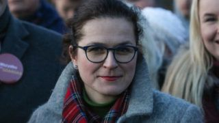 Aleksandra Dulkiewicz during the electoral campaign on Gdansk Chelm streets is seen in Gdansk, Poland on 28 February 2019 Dulkiewicz is a candidate for Mayor of Gdansk.  Elections, after the murder of Mayor Pawel Adamowicz on Jan. 13th. will be held on March 3rd.  (Photo by Michal Fludra/NurPhoto)