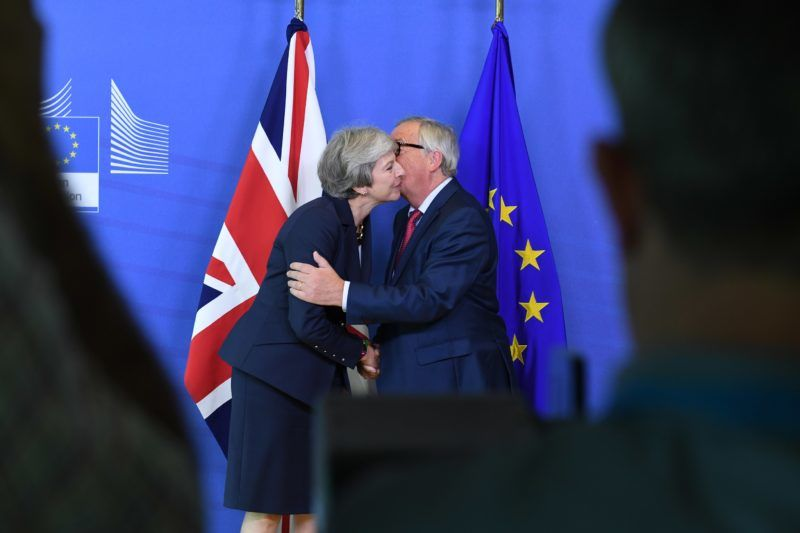 PM of United Kingdom Theresa May and Jean-Claude Junker, President of the European Commission, are meeting at the VIP Corner of the European Commission in Brussels, Belgium, on 17 October 2018. (Photo by Riccardo Pareggiani/NurPhoto)