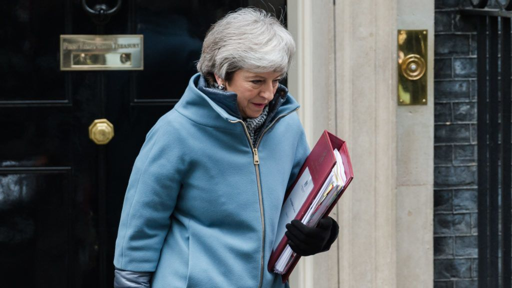 British Prime Minister Theresa May leaves 10 Downing Street in central London for the weekly PMQ session in the House of Commons on 06 March, 2019. (Photo by WIktor Szymanowicz/NurPhoto)
