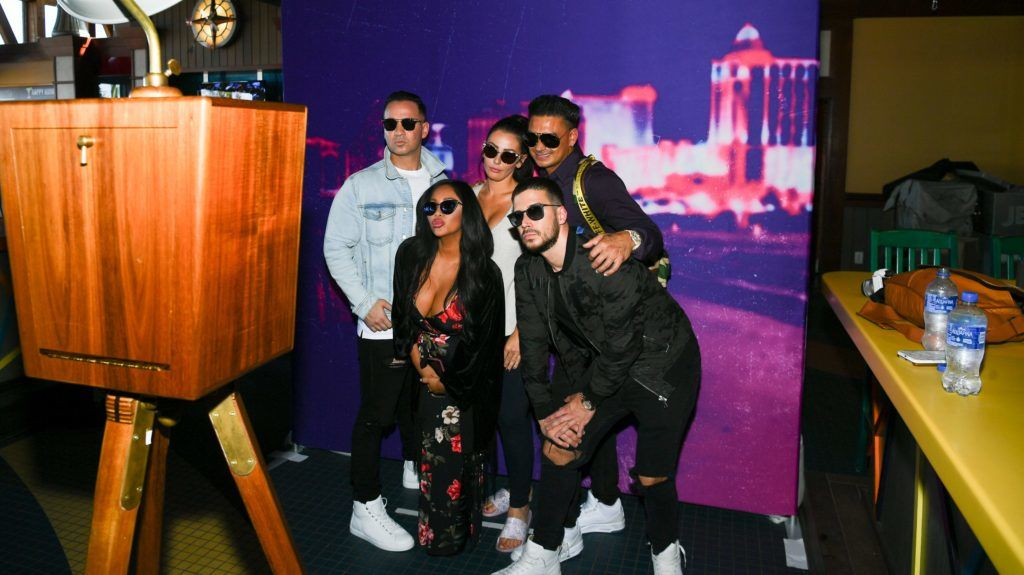 POINT PLEASANT BEACH, NJ - AUGUST 23:  Mike 'The Situation' Sorrentino, Paul DelVecchio aka Pauly D, Nicole 'Snooki' Polizzi, Vinny Guadagnino and Jenni Farley aka JWoww attend Jenny McCarthy's 'Inner Circle' Series On Her SiriusXM Show 'The Jenny McCarthy Show' With The Cast Of MTV's Jersey Shore Family Reunion Part 2 on August 23, 2018 in Point Pleasant Beach City.  (Photo by Dave Kotinsky/Getty Images for SiriusXM)