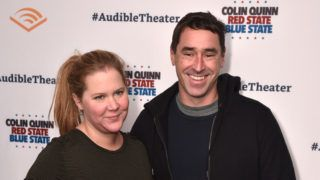 "NEW YORK, NY - JANUARY 22: Amy Schumer and Chris Fischer attend the Opening Night for Colin Quinn's ""Red State Blue State"" at Audible's Minetta Lane Theatre in NYC at the Minetta Lane Theatre on January 22, 2019 in New York City.  (Photo by Bryan Bedder/Getty Images for Audible)"