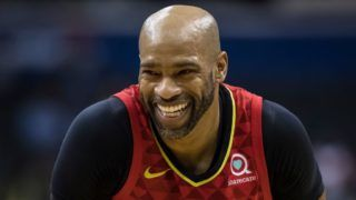 WASHINGTON, DC - FEBRUARY 4: Vince Carter #15 of the Atlanta Hawks looks on against the Washington Wizards during the second half at Capital One Arena on February 4, 2019 in Washington, DC. NOTE TO USER: User expressly acknowledges and agrees that, by downloading and or using this photograph, User is consenting to the terms and conditions of the Getty Images License Agreement. (Photo by Scott Taetsch/Getty Images)