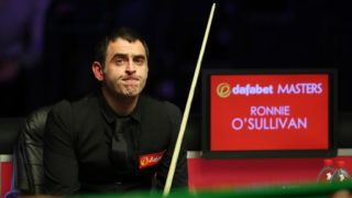 LONDON, ENGLAND - JANUARY 20: Ronnie O'Sullivan of England reacts during The Dafabet Masters Final between Judd Trump of England and Ronnie O'Sullivan of England at Alexandra Palace on January 20, 2019 in London, England. (Photo by Linnea Rheborg/Getty Images)