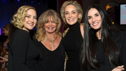 """BEVERLY HILLS, CA - FEBRUARY 28:  (L-R) Honoree Kate Hudson, Goldie Hawn, Sharon Stone and Demi Moore attend WCRF's """"An Unforgettable Evening"""" at the Beverly Wilshire Four Seasons Hotel on February 28, 2019 in Beverly Hills, California.  (Photo by Emma McIntyre/Getty Images for WCRF)"""