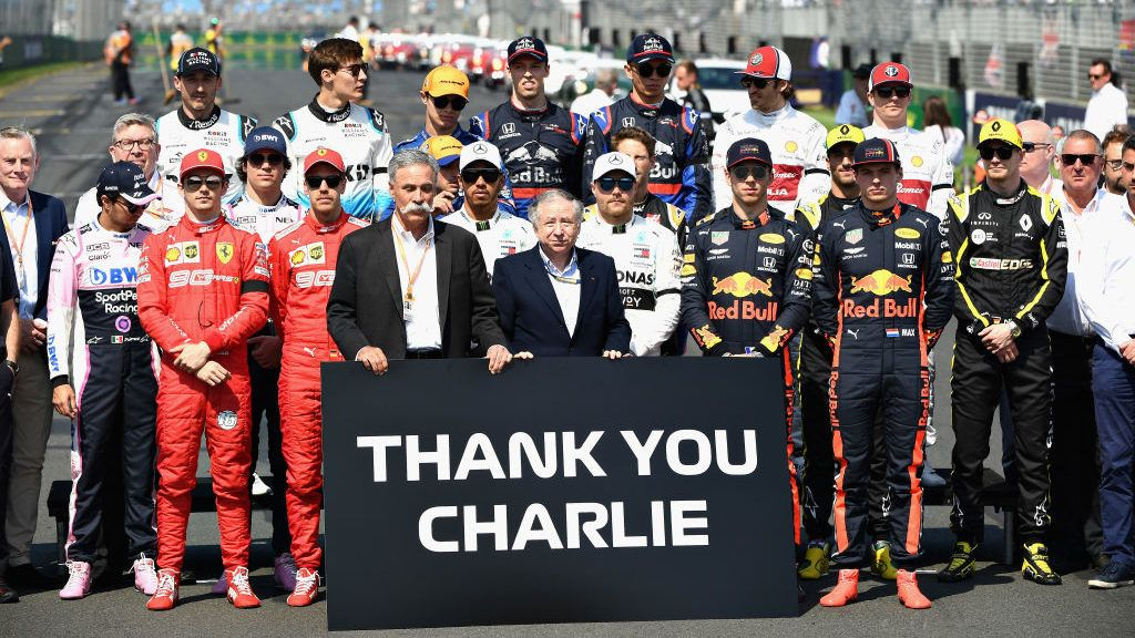MELBOURNE, AUSTRALIA - MARCH 17:  The drivers stand for a tribute to the late FIA Race Director, Charlie Whiting before the F1 Grand Prix of Australia at Melbourne Grand Prix Circuit on March 17, 2019 in Melbourne, Australia.  (Photo by Quinn Rooney/Getty Images)