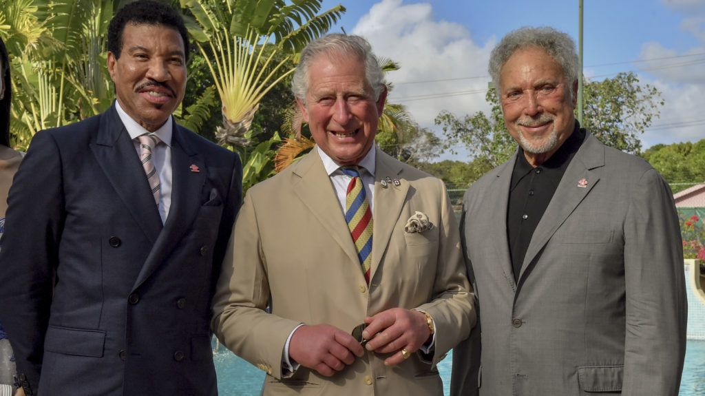 FOLKSTONE, BARBADOS - MARCH 19:  (L-R) Lionel Richie, Prince Charles, Prince of Wales and Sir Tom Jones attend a Prince's Trust International Reception at the Coral Reef Club Hotel on March 19, 2019 in Folkestone, Barbados. The Prince of Wales and Duchess of Cornwall are visiting a number countries as part of their Caribbean Tour, including a historic visit to Cuba.  (Photo by Arthur Edwards - Pool/Getty Images)