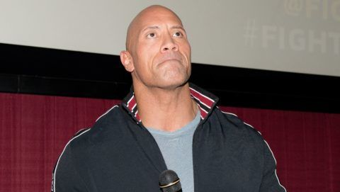 """ATLANTA, GEORGIA - FEBRUARY 23: Dwayne Johnson makes a special appearance at a screening of """"Fighting With My Family"""" at Regal Cinemas Atlantic Station on February 23, 2019 in Atlanta, Georgia. (Photo by Marcus Ingram/Getty Images)"""