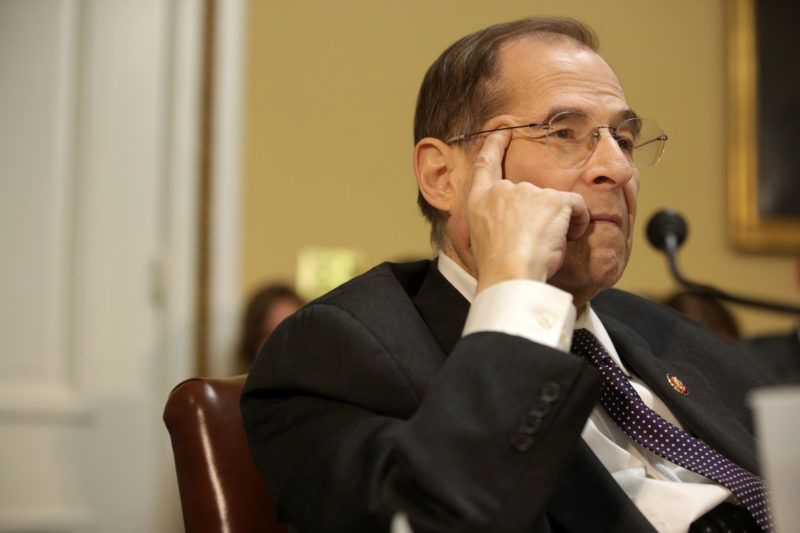 WASHINGTON, DC - FEBRUARY 25:  U.S. Rep. Jerrold Nadler (D-NY) listens during a House Rules Committee meeting at the U.S. Capitol February 25, 2019 in Washington, DC. The Democrat-led committee is meeting to consider a resolution to block the national emergency declaration that seeks to allow President Trump to shift spending to fund sections of a U.S.-Mexico border wall.  (Photo by Alex Wong/Getty Images)