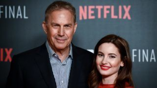 MADRID, SPAIN - MARCH 25: Actor Kevin Costner and actress Ivana Baquero attend the 'Highwaymen' film by Netflix premiere at the Cine Capitol on March 25, 2019 in Madrid, Spain. (Photo by Samuel de Roman/Getty Images for Netflix)