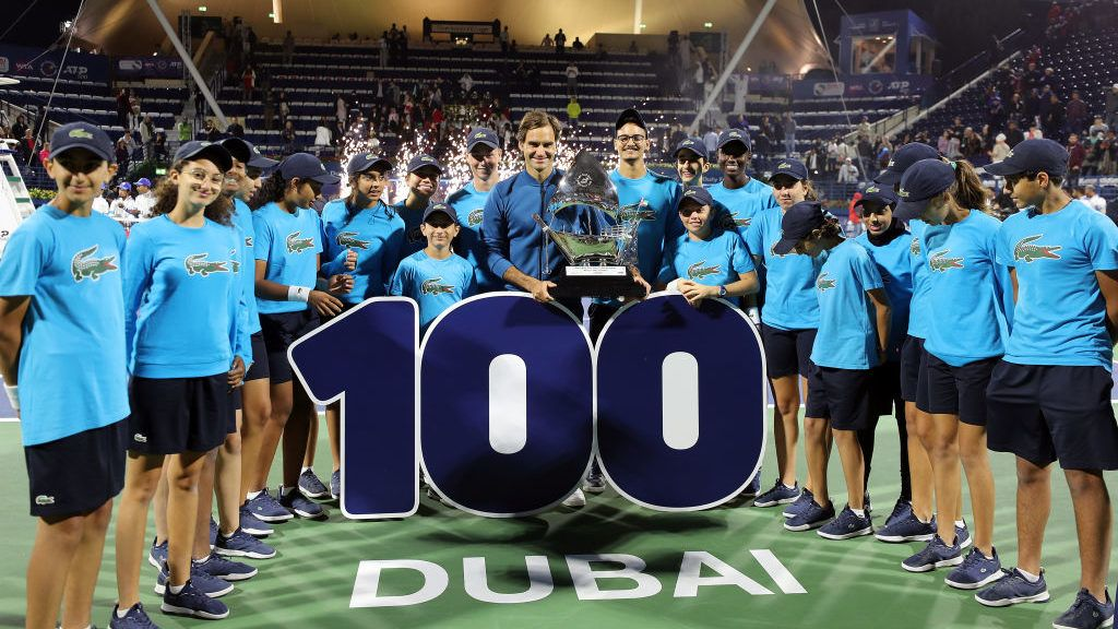 DUBAI, UNITED ARAB EMIRATES - MARCH 02: Roger Federer of Switzerland poses with his trophy after defeating Stefanos Tsitsipas of Greece in their final match day Fourteen of the Dubai Duty Free Tennis Stadium on at Dubai Duty Free Tennis Stadium March 02, 2019 in Dubai, United Arab Emirates. (Photo by Amin Mohammad Jamali/Getty Images)