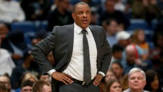 NEW ORLEANS, LOUISIANA - MARCH 08:  Head coach Alvin Gentry of the New Orleans Pelicans looks on during the second half of a game against the Toronto Raptors  at the Smoothie King Center on March 08, 2019 in New Orleans, Louisiana. NOTE TO USER: User expressly acknowledges and agrees that, by downloading and or using this photograph, User is consenting to the terms and conditions of the Getty Images License Agreement. (Photo by Sean Gardner/Getty Images)