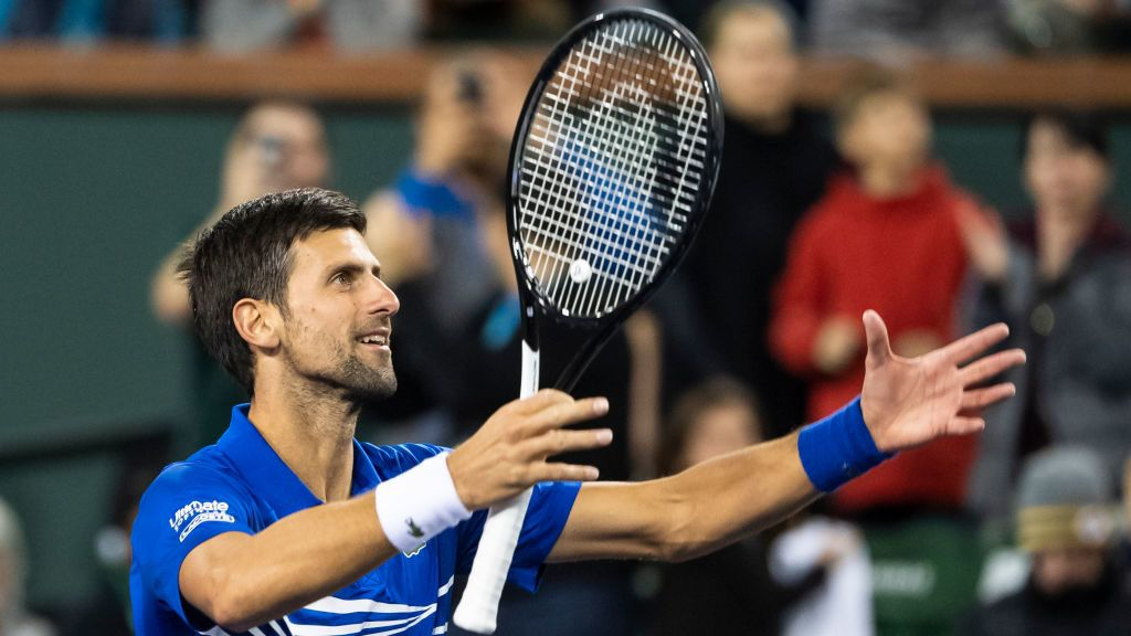 INDIAN WELLS, CALIFORNIA - MARCH 09: Novak Djokovic of Serbia celebrates after beating Bjorn Fratangelo of the United States on March 09, 2019 at the Indian Wells Tennis Garden in Indian Wells, California. (Photo by TPN/Getty Images)