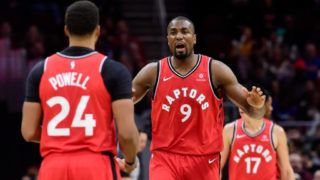 CLEVELAND, OHIO - MARCH 11: Serge Ibaka #9 yells to teammate  Norman Powell #24 of the Toronto Raptors during the second half against the Cleveland Cavaliers at Quicken Loans Arena on March 11, 2019 in Cleveland, Ohio. The Cavaliers defeated the Raptors 126-101. NOTE TO USER: User expressly acknowledges and agrees that, by downloading and or using this photograph, User is consenting to the terms and conditions of the Getty Images License Agreement. (Photo by Jason Miller/Getty Images)