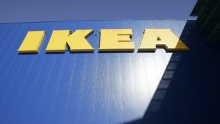 PARAMUS, NJ - JANUARY 27:  An IKEA sign hangs on a the side of an Ikea store January 27, 2005 in Paramus, New Jersey. Ikea, a Swedish company, currently has 200 stores worldwide and in the next 10 years is planning to open five stores annually in the U.S., the company's second-biggest market behind Germany.  (Photo by Stephen Chernin/Getty Images)