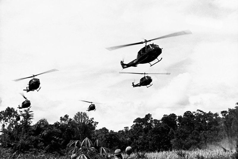 Bell UH-1D Iroquois helicopters fly support for the 173rd Airborne Brigade on a search and destroy operation at Pleiku during the Vietnam War. (Photo by © CORBIS/Corbis via Getty Images)