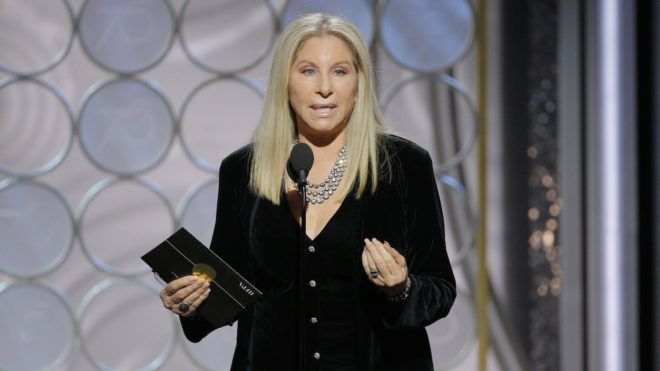 BEVERLY HILLS, CA - JANUARY 07:  In this handout photo provided by NBCUniversal, Barbra Streisand speaks onstage during the 75th Annual Golden Globe Awards at The Beverly Hilton Hotel on January 7, 2018 in Beverly Hills, California.  (Photo by Paul Drinkwater/NBCUniversal via Getty Images)