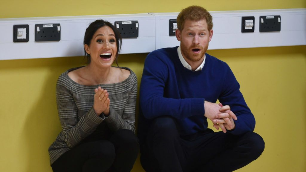 CARDIFF, WALES - JANUARY 18: Prince Harry and his fiancee Meghan Markle attend a street dance class during their visit to Star Hub on January 18, 2018 in Cardiff, Wales.  (Photo by Geoff Pugh - WPA Pool/Getty Images)