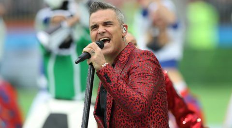 MOSCOW, RUSSIA - JUNE 14:  Singer Robbie Williams performs during the Opening Ceremony during the 2018 FIFA World Cup Russia group A match between Russia and Saudi Arabia at Luzhniki Stadium on June 14, 2018 in Moscow, Russia. (Photo by Ian MacNicol/Getty Images)
